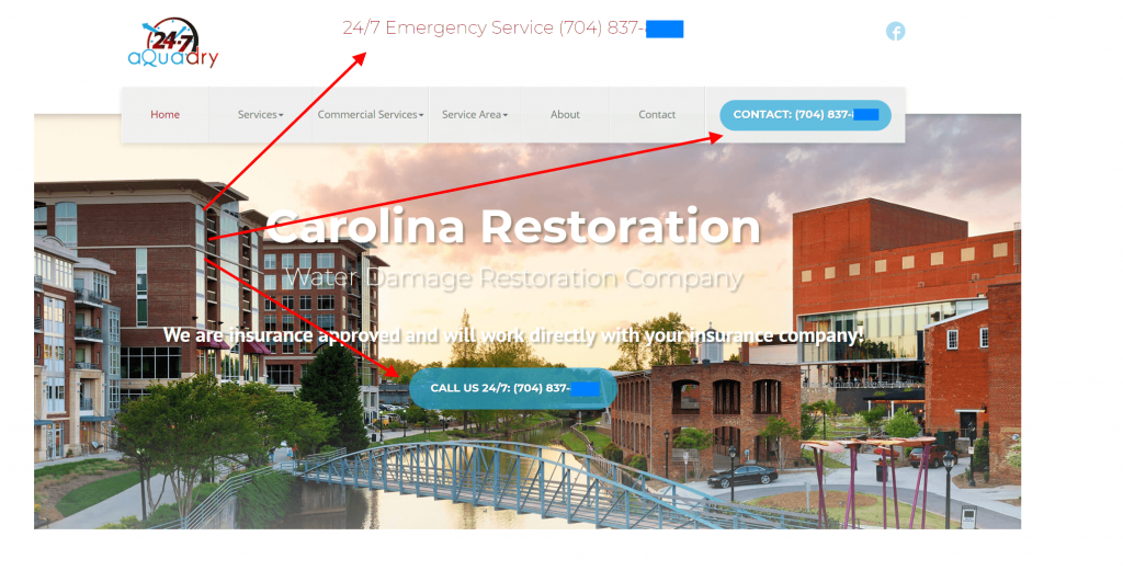 restoration service marketing website design
