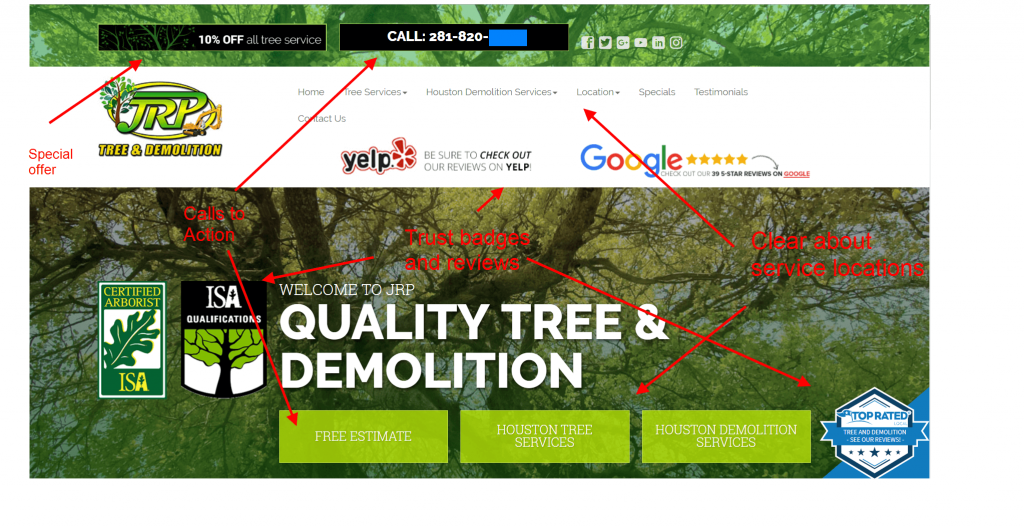 tree care case study website design