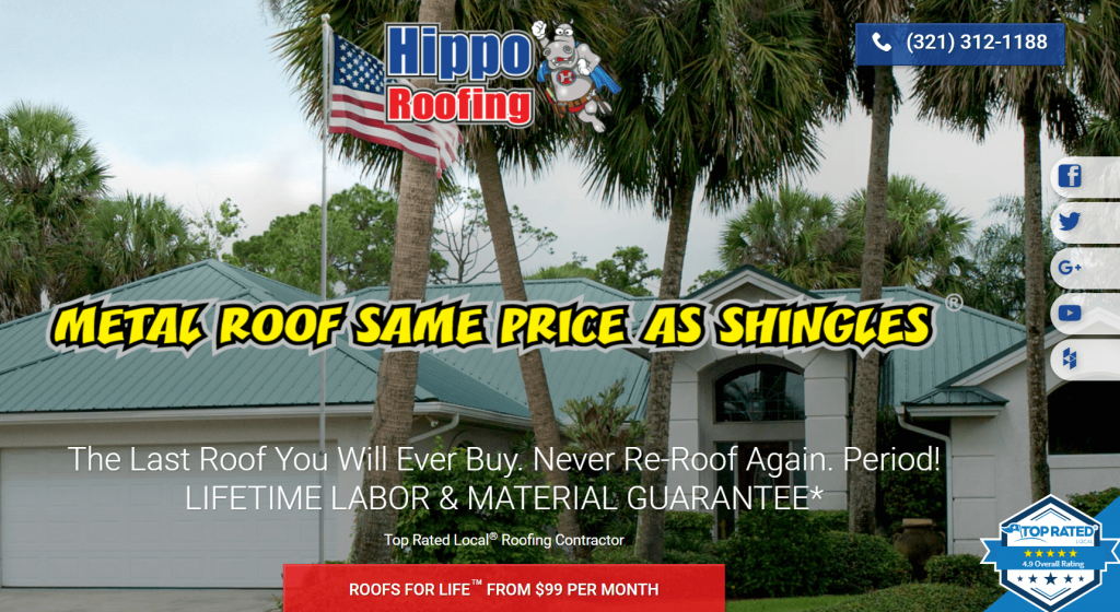hippo roofing homepage design
