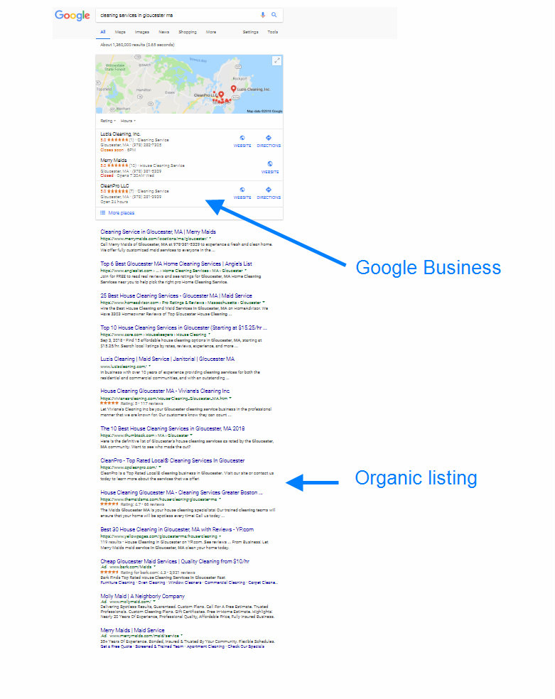 cleaning service case study serp