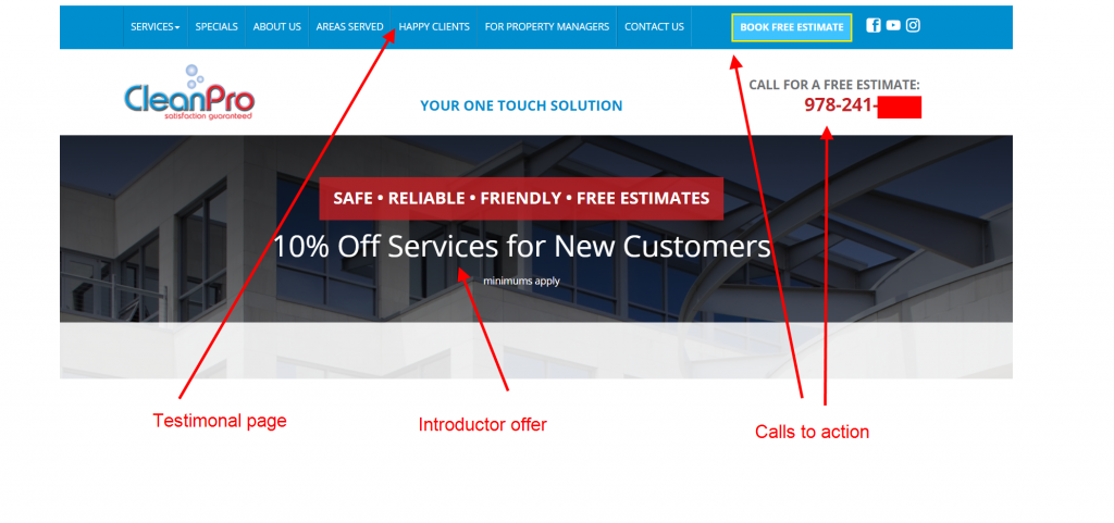 cleaning service conversion website design