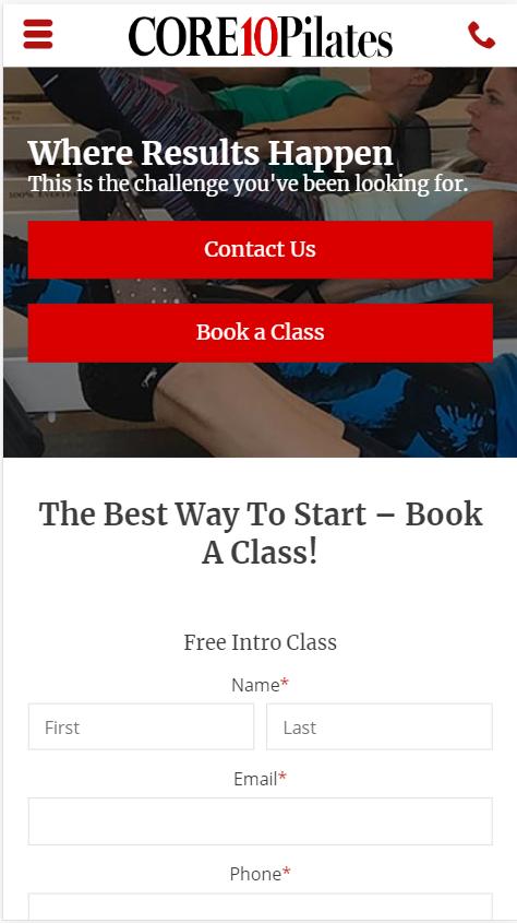 pilates mobile website design