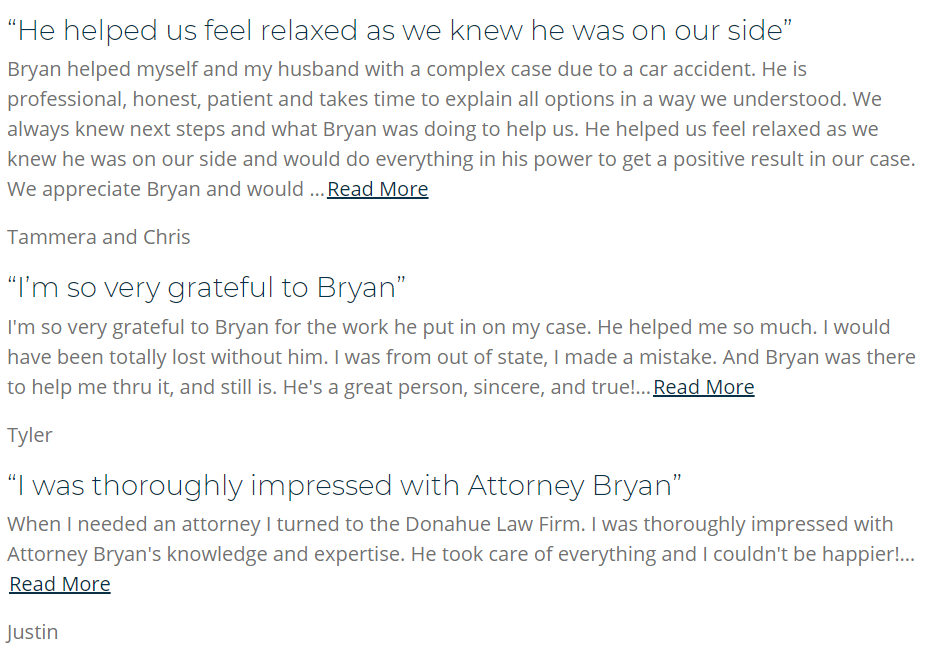 law firm websites testimonials