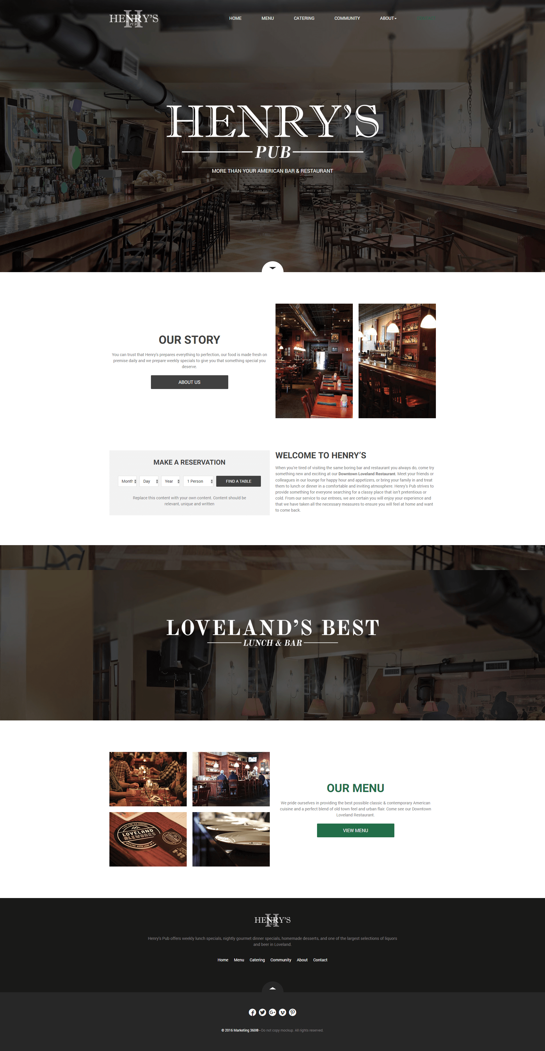 pub website template