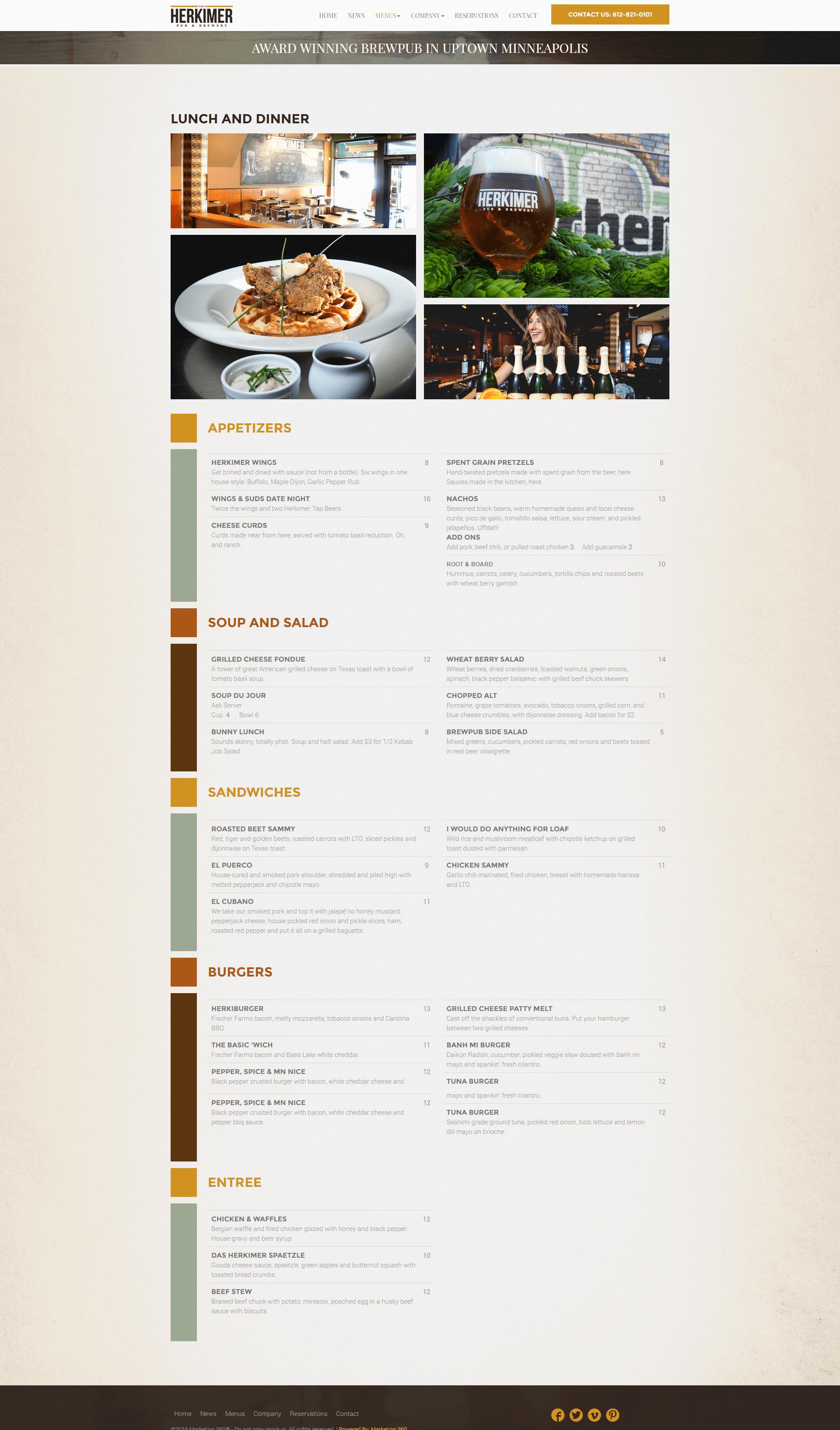restaurant menu page