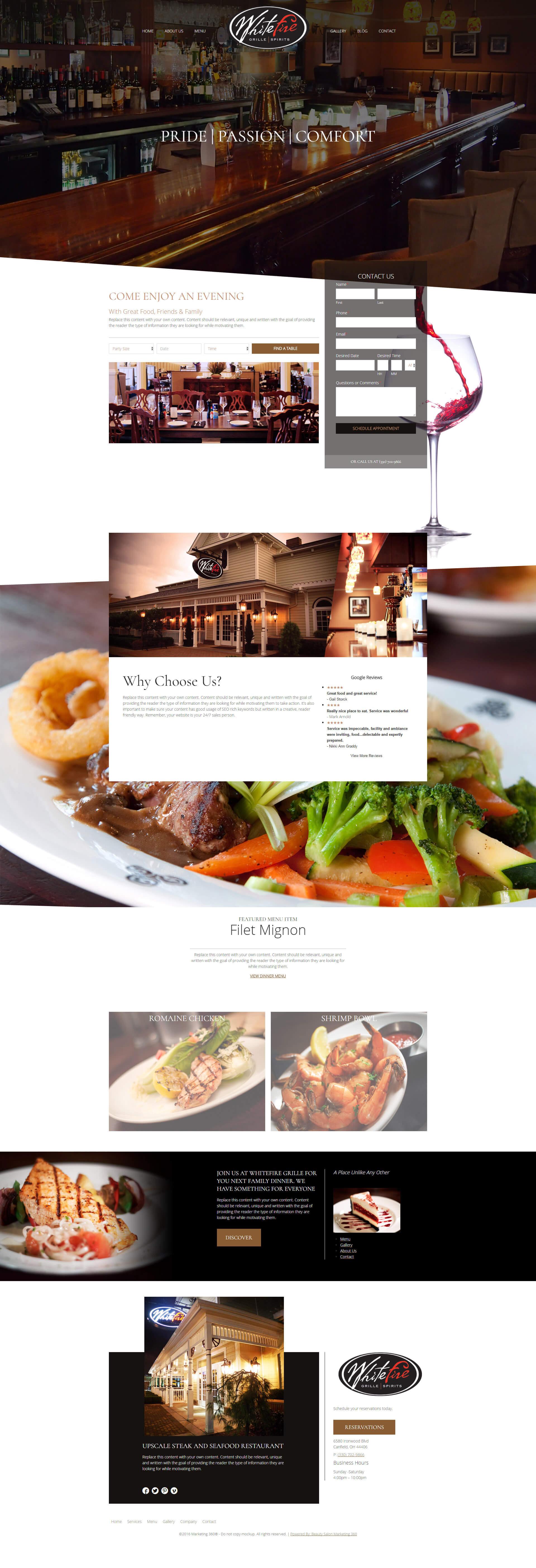 whitefire restaurant website design