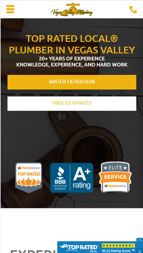 plumber website design mobile