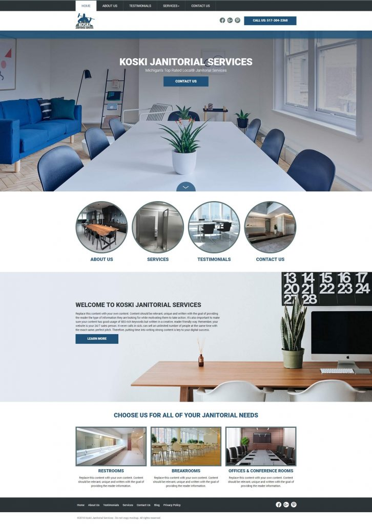 janitorial marketing website design