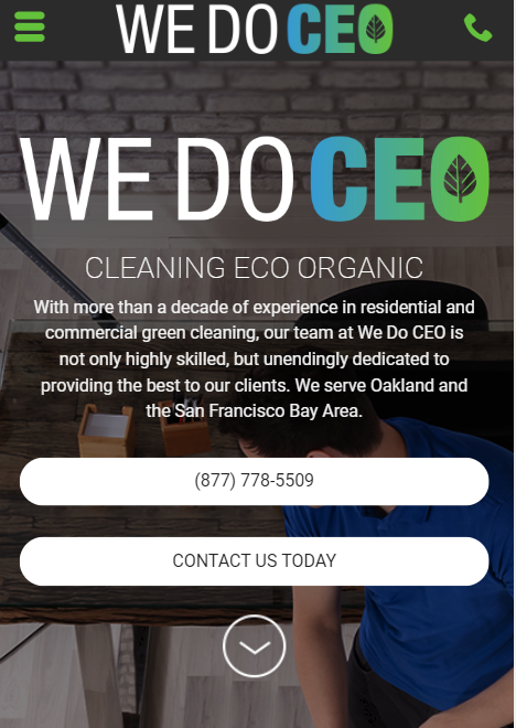 janitorial marketing mobile website