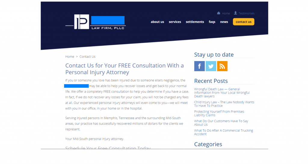 law firm marketing case study contact page friction
