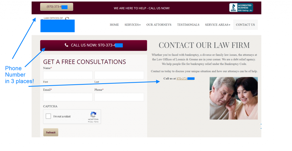 law firm case study contact page