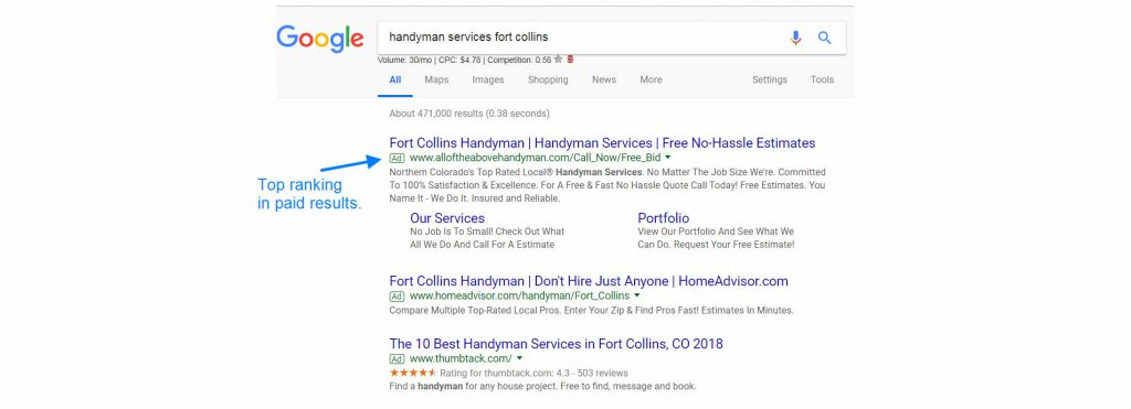 handyman marketing case study paid search