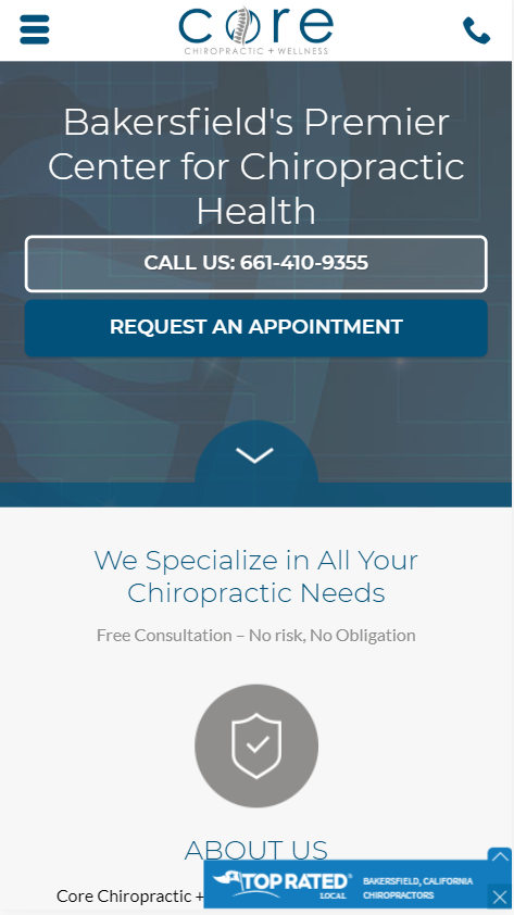 chiropractic marketing case study mobile website