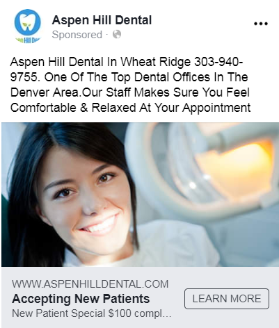 dental facebook ad example