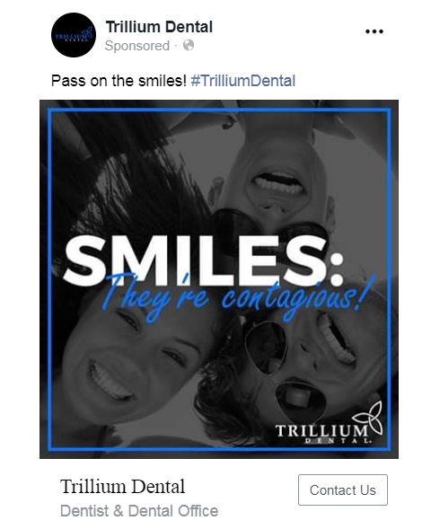 facebook ads for dentists example