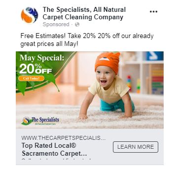 facebook ads for carpet cleaners