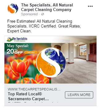 facebook carpet cleaning ad
