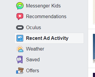 facebook recent ad activity