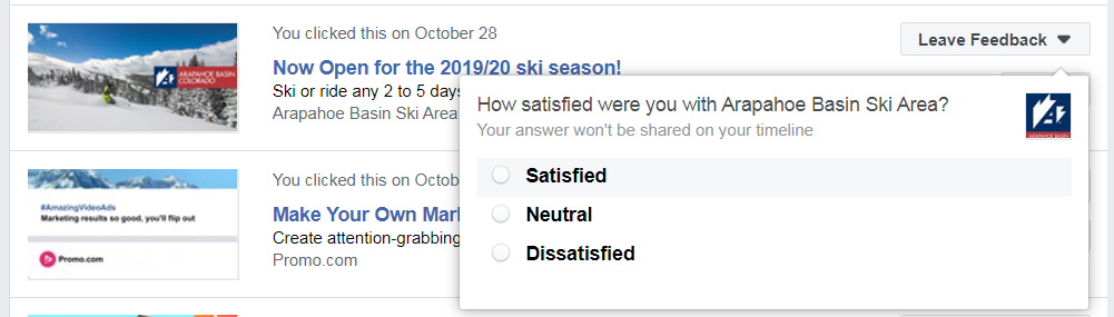 facebook ads customer survey